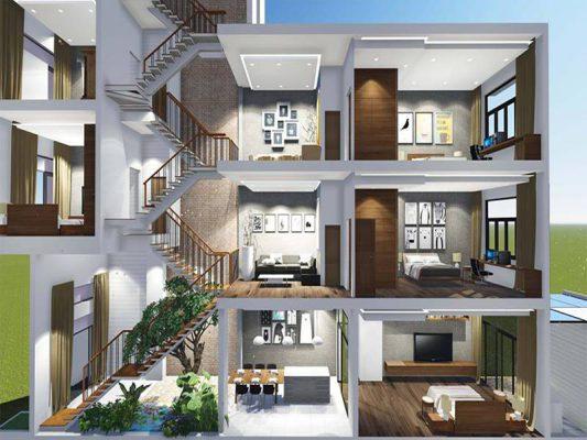 Thiết kế nhà phố lệch tầng đẳng cấp